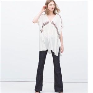 Zara White Tunic with Embroidery and Fringe